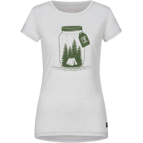 super.natural Printed T-shirt Dames, light grey melange/millitarycamping jar